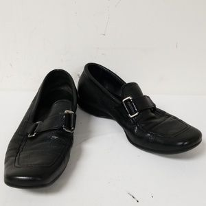 Prada Black Leather Slip On Loafers Shoes Size 6.5